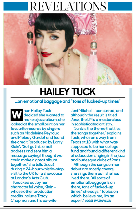 Hailey Tuck: 8/10 in UNCUT Magazine!